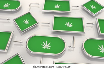 Marijuana Weed Pot Cannabis Process Map Steps Levels 3d Illustration