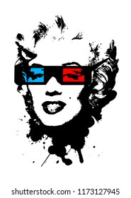 Marilyn Monroe wearing 3D movie glasses. 3D glasses, red and blue. Black splash of black color creating Marilyn Monroe portrait