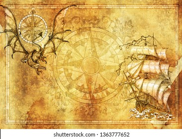 Marine blank banner with copy space, fantasy dragon, old sailboat on texture background. Collage with hand drawn graphic illustrations on paper, adventure concept