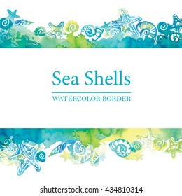 Marine border with watercolor sea shells. Sea life frame. Summer travel background.