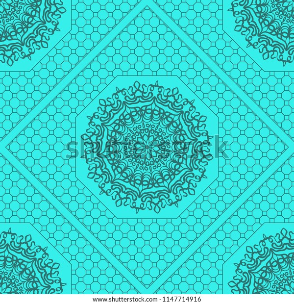 marine color seamless geometric pattern with floral mandala.   illustration. for print, fashion design