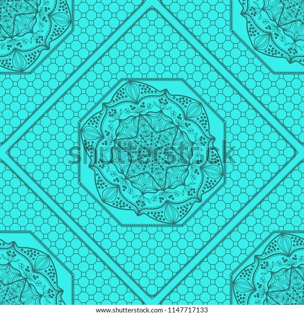 marine color seamless geometric pattern with floral mandala.   illustration. for print, fashion design