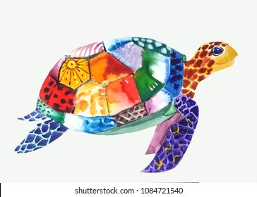 marine funny turtle colorful decorated with spots, swims to the right, watercolor painting