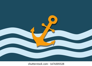 marine greeting card with anchor,Travel concept