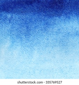 Marine or navy blue watercolor gradient fill background. Watercolour stains. Abstract painted template with paper texture.