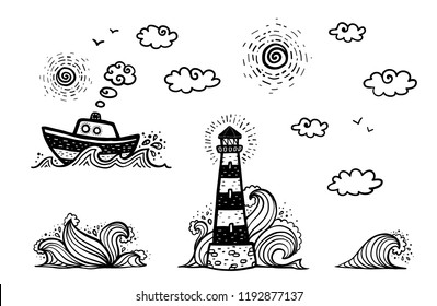 Marine set in cartoon doodles style: ship, lighthouse, waves, sun and clouds isolated on white background
