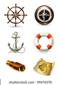 Marine set high quality icons, bitmap copy