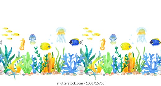 Marine underwater border watercolor. A seamless pattern with fish, jellyfish, seahorse, sea star, shells, corals, algae, stones.