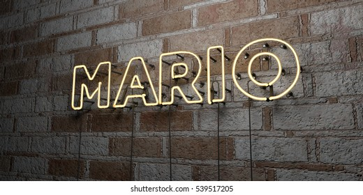 MARIO - Glowing Neon Sign on stonework wall - 3D rendered royalty free stock illustration.  Can be used for online banner ads and direct mailers.