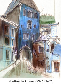 Marker blue sketch of a old european street