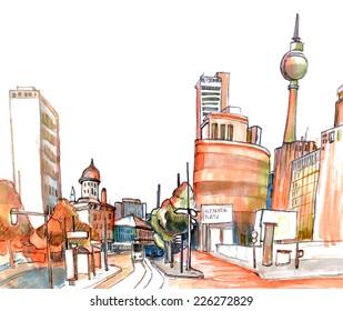 Marker city sketch