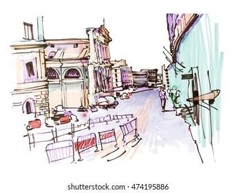 marker drawing of Rome Italy street landscape, urban sketch raster version illustration