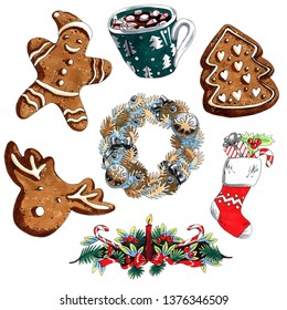 Marker illustration cute christmas set of wreath, gingerbread, gift sock isolated on white background for advertisement