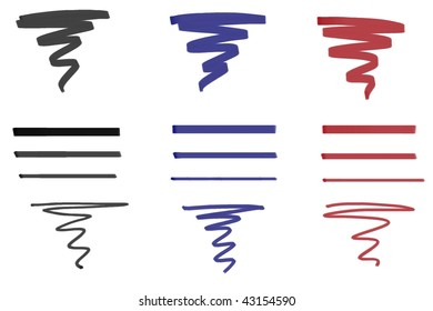 Marker ink stroke sample template in black blue and red.