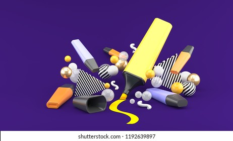 Marker pen among colorful balls on a purple background.-3d rendering.