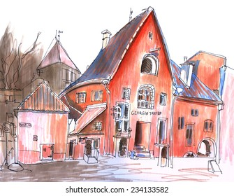 Marker  red sketch of a old european street