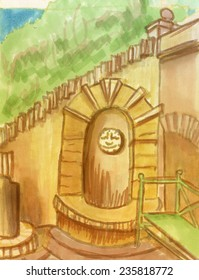 Marker sketch of arch and stairs
