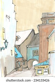 Marker sketch of a cafe on the street of baltic town