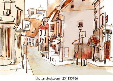 Marker sketch of a european old city street with road sign