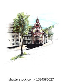 Marker sketch of Fuessen Bavaria Germany