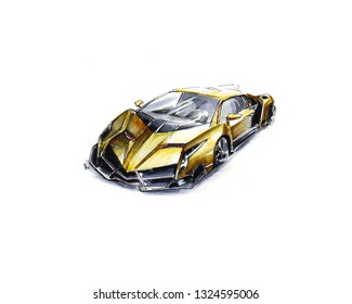 Marker sketch of golden super car