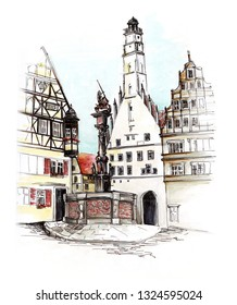 Marker sketch of Rothenburg ob der Tauber Germany