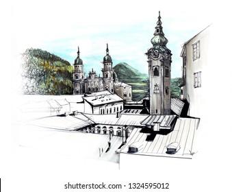 Marker sketch of Salzburg Austria