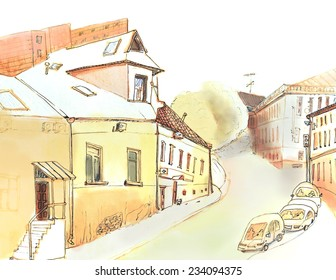 Marker sketch of a small street view on the hill with cars
