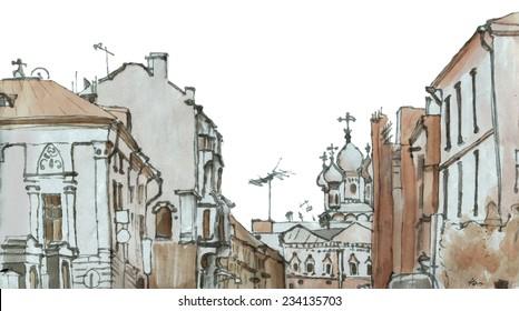 Marker sketch of a street