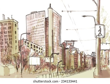 Marker sketch of a street in big city with highway