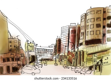 Marker sketch of a street in big city