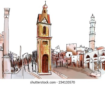 Marker sketch of a street with churches on cross
