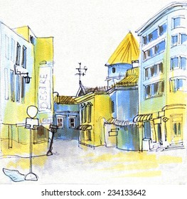Marker sketch of a street going from old town to new