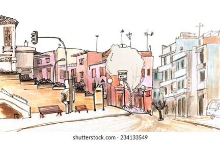 Marker sketch of a street on a hill