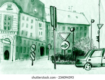 marker sketch of a street view
