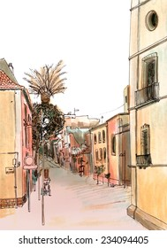 Marker sketch of a street view with palm