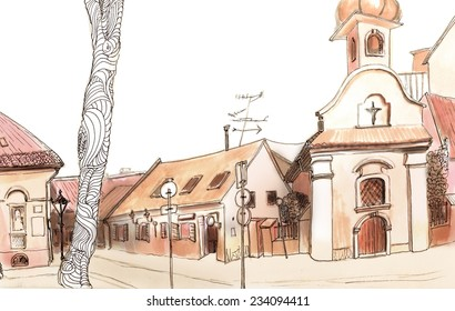 Marker sketch of a street view with small cathedral and tree