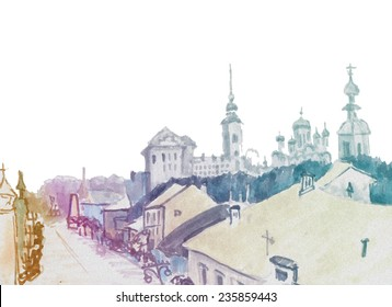 Marker street sketch with churches in skyline