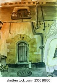 Marker street sketch with front door