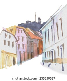 Marker street sketch with hill
