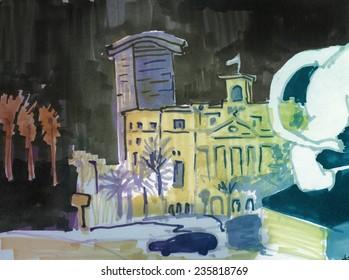 Marker street sketch in night