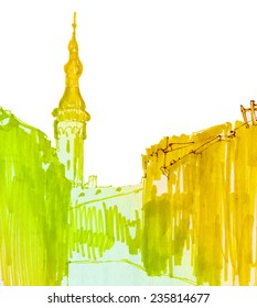 Marker street sunshine sketch for postcard
