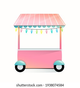 Market empty stall or stand isolated on white background. Cartoon little kiosk for selling sweets or bakery on wheels illustrated design, for kids. Illustration in watercolor style.