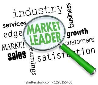 Market Leader Top Business Performer Magnifying Glass Words 3d Illustration