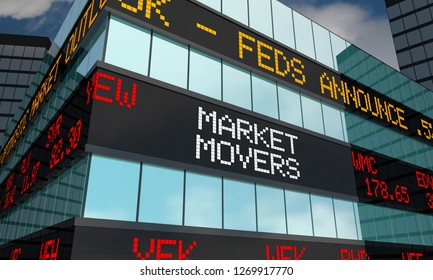 Market Movers Stock Market Ticker Words 3d Illustration