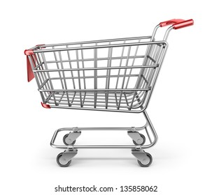 Market Shopping Cart 3D. Einzeln auf weißem Hintergrund