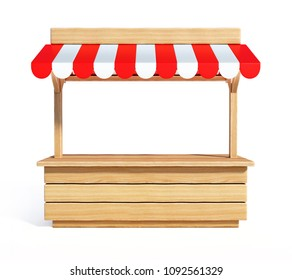 Market stall with striped red and white awning, wooden counter, kiosk, stand, 3d rendering