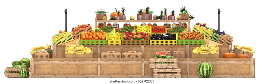 Market stalls with fruits and vegetables, display fresh food, Isolated on white background, 3d render