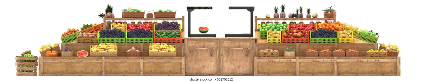 Market stalls with fruits and vegetables, fresh food, Isolated on white background, Fruit display. Banner for vegetable or fruit market, store, trade counter. Front view, 3d render
