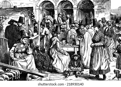 Market in Wales, vintage engraved illustration. Journal des Voyage, Travel Journal, (1879-80).